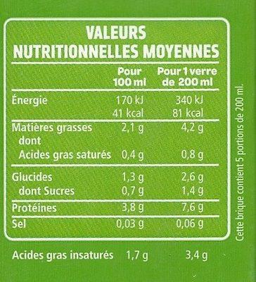 Boisson Soja du Sud-Ouest  Nature  - Informations nutritionnelles