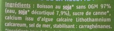 Boisson Soja Calcium - Ingredients - fr