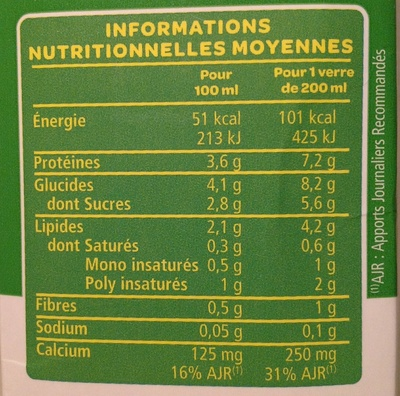 Boisson Soja Calcium - Nutrition facts - fr