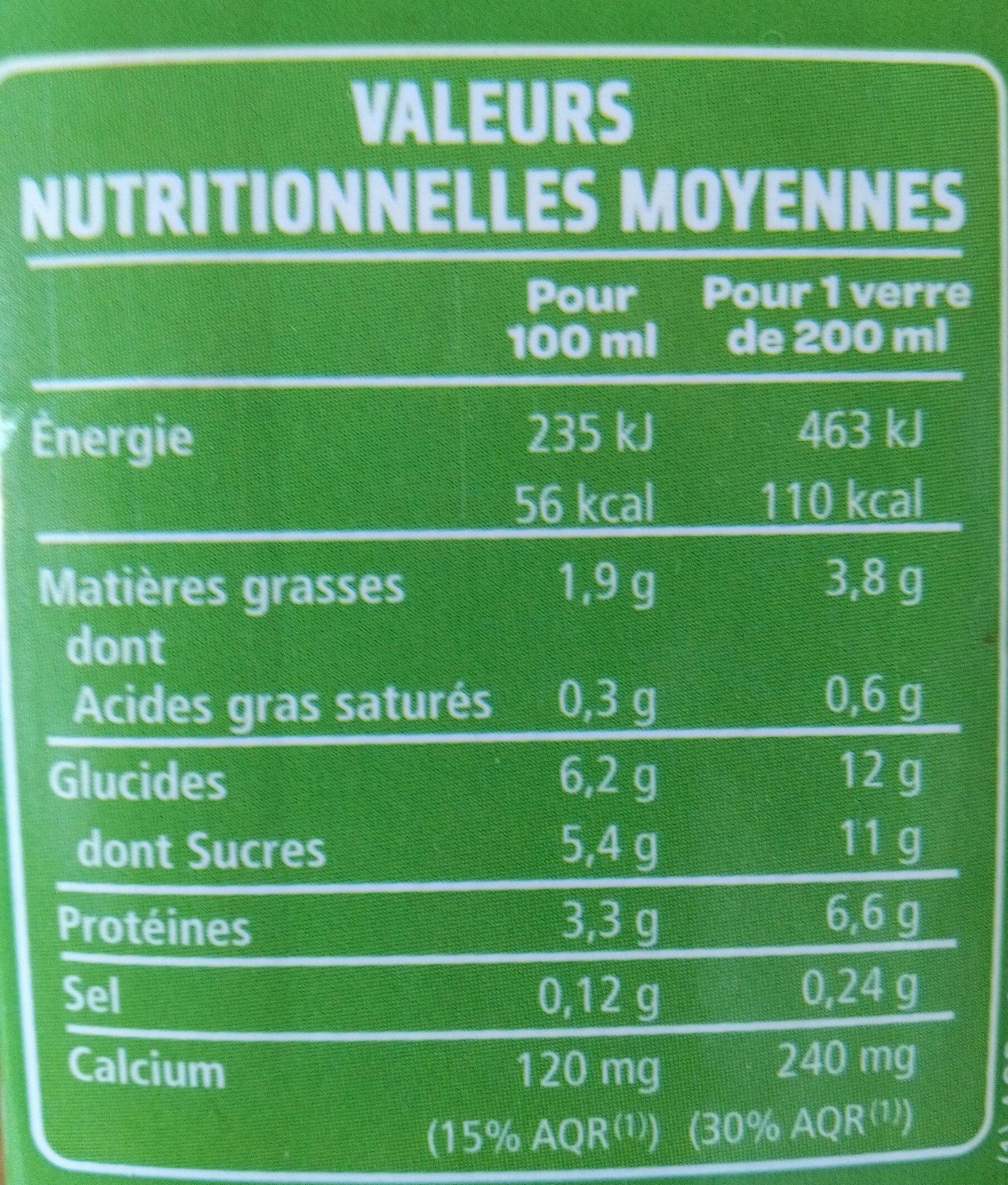 Boisson soja du Sud-Ouest Vanille - Informations nutritionnelles - fr