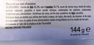 Biscuit SON D'AVOINE - Ingrédients