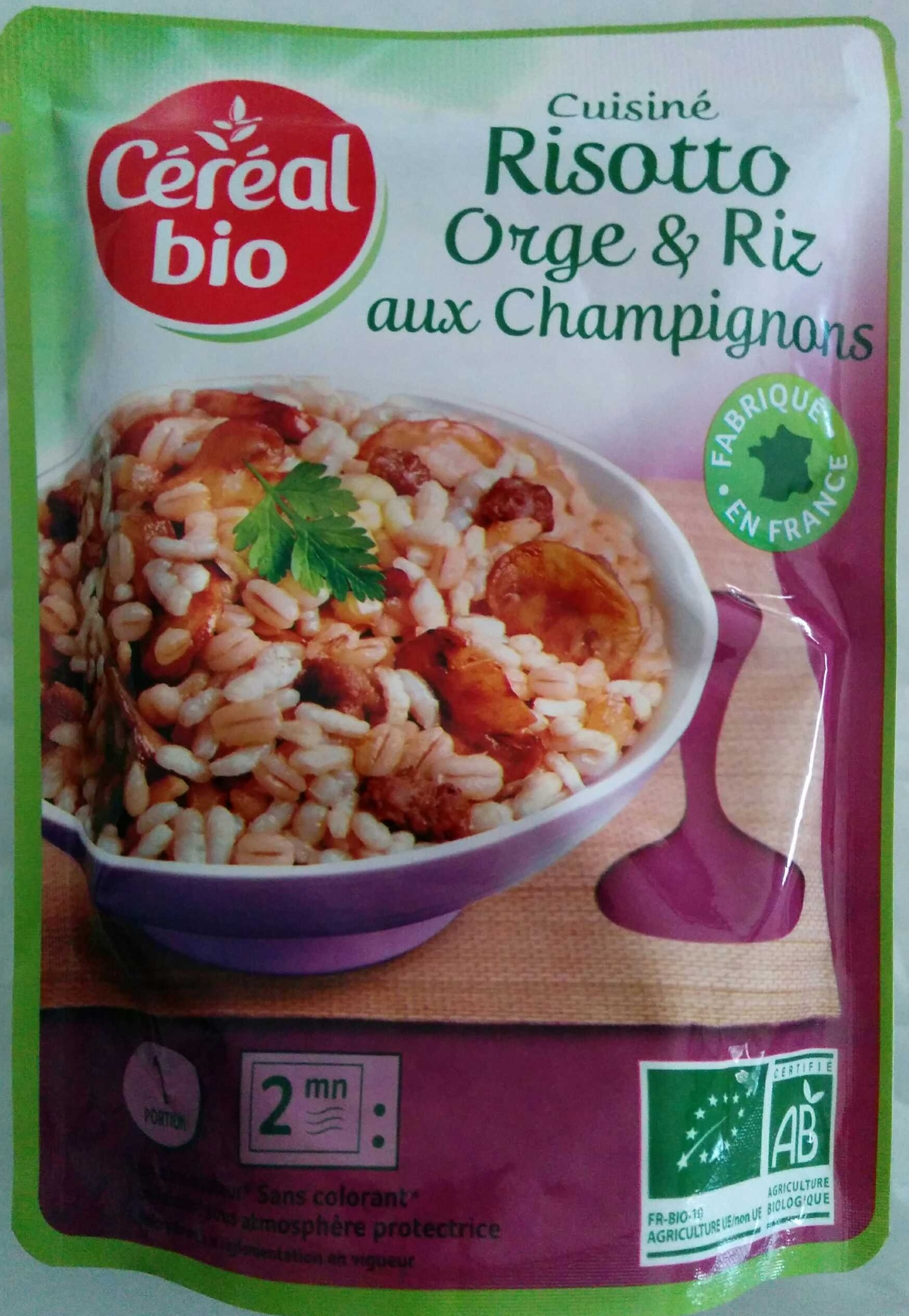 cuisiné risotto orge et riz aux champignons - céréal bio - 200 g