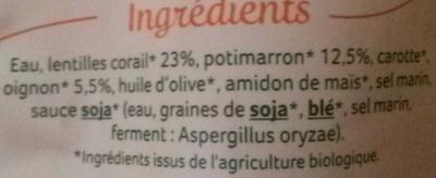 Purée lentilles corail potimarron Bio - Ingrédients