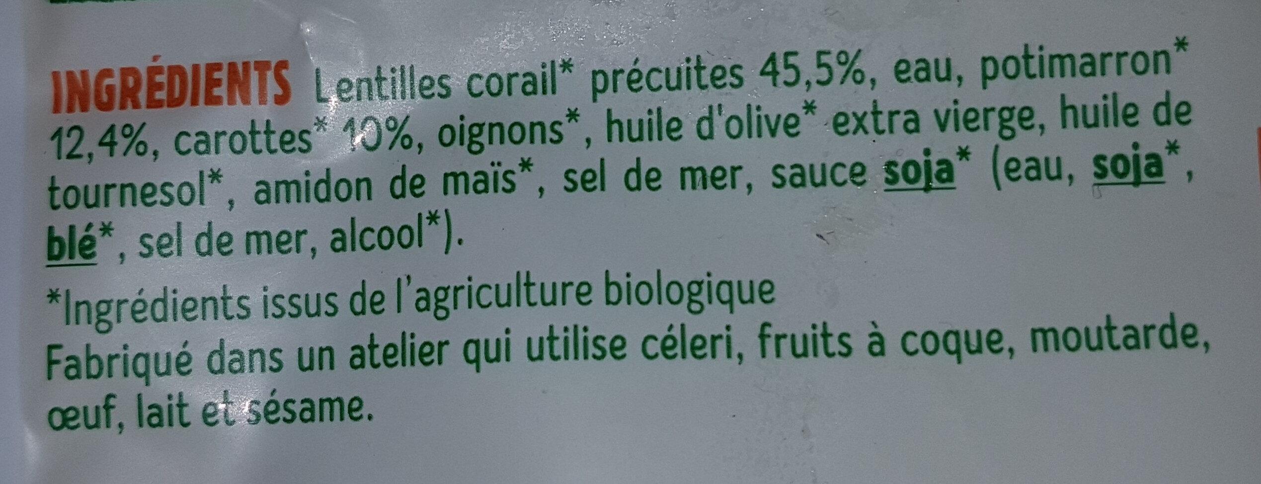 Purée lentilles corail potimarron Bio - Ingredienti - fr