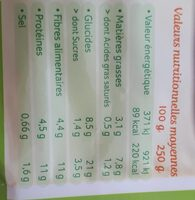 Purée lentilles corail potimarron Bio - Valori nutrizionali - fr