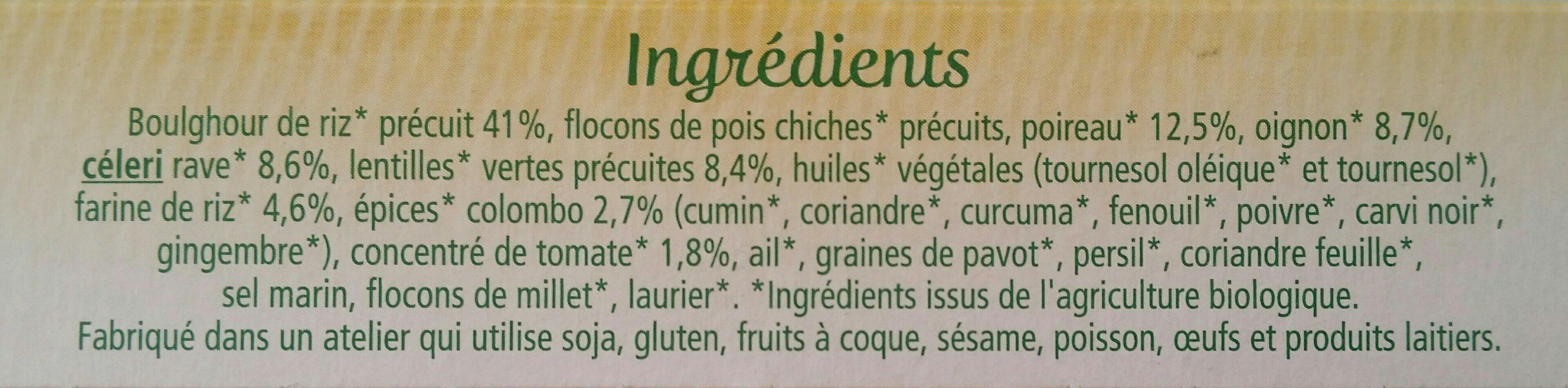 Boulghour de riz, légumes et colombo - Ingrédients