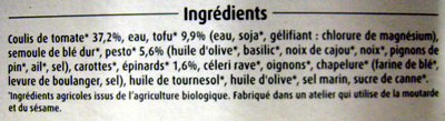 Ravioli d'épinards au Tofu sauce tomate pesto Bio - Ingrédients