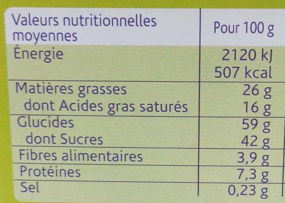 Crousti'pause nappé chocolat au lait - Nutrition facts
