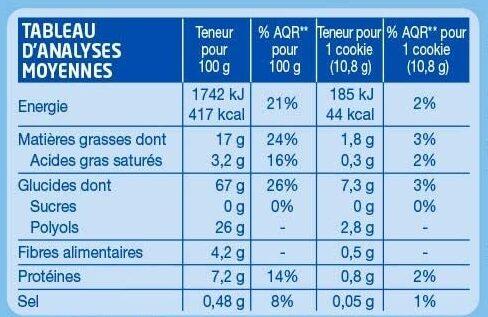 Cookie Cacao Pépites - Información nutricional - fr