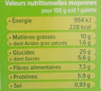 Céréal Bio - Galettes Céréales Orge, chèvre et miel - Nutrition facts