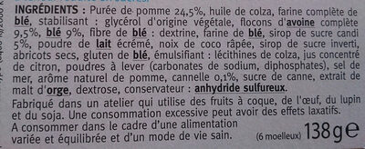 Moelleux pomme cannelle Gerblé - Ingredients - fr