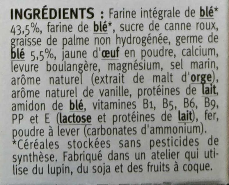 5 Biscuits au Germe de Blé - Ingredients