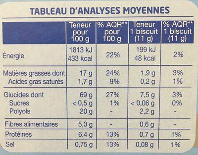 Biscuit sésame saveur vanille - Informations nutritionnelles - fr
