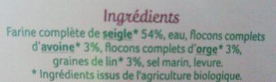 Pain complet de seigle aux flocons d'avoine et graines de lin - Ingredienti - fr