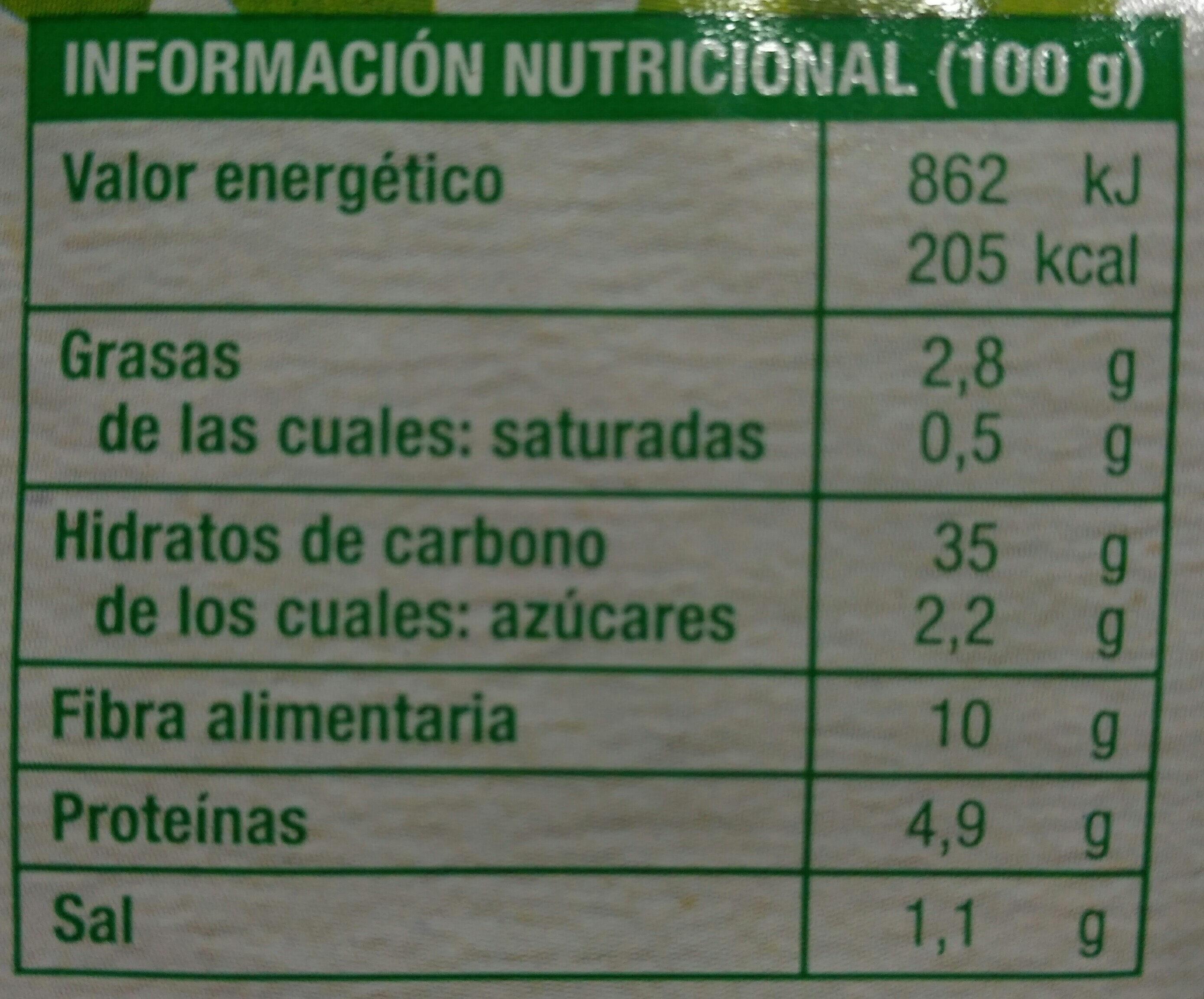 Pain complet Seigle aux flocons d'avoine & graines de lin - Información nutricional - es