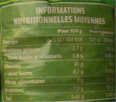 Galette de riz complet nature - Nutrition facts - fr