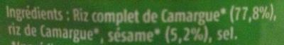 Galettes Riz complet de Camargue au sésame - Ingrediënten