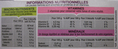 Biscuits chocolat cacao - Nutrition facts
