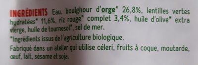 Orge, lentilles vertes, riz rouge au naturel - Ingredients - fr