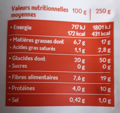 Orge, lentilles vertes, riz rouge au naturel - Nutrition facts - fr