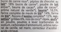 maxi cookies gros chunks de chocolat au lait et noisettes - Ingrediënten - fr