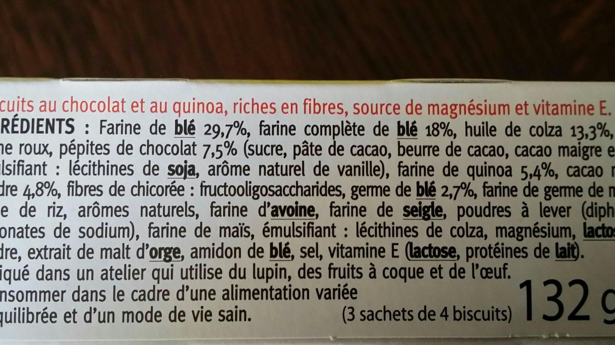 Biscuit quinoa cacao - Ingrédients - fr