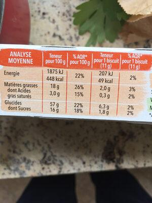 Biscuit quinoa cacao - Valori nutrizionali - fr