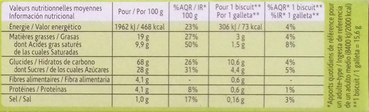 Biscuit cacaoté - Información nutricional - fr