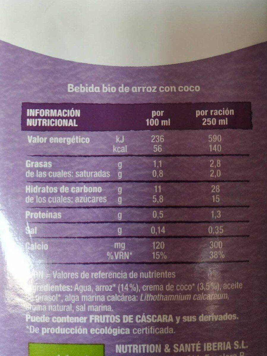 Bebida Bio Arroz con Coco - Informations nutritionnelles - fr