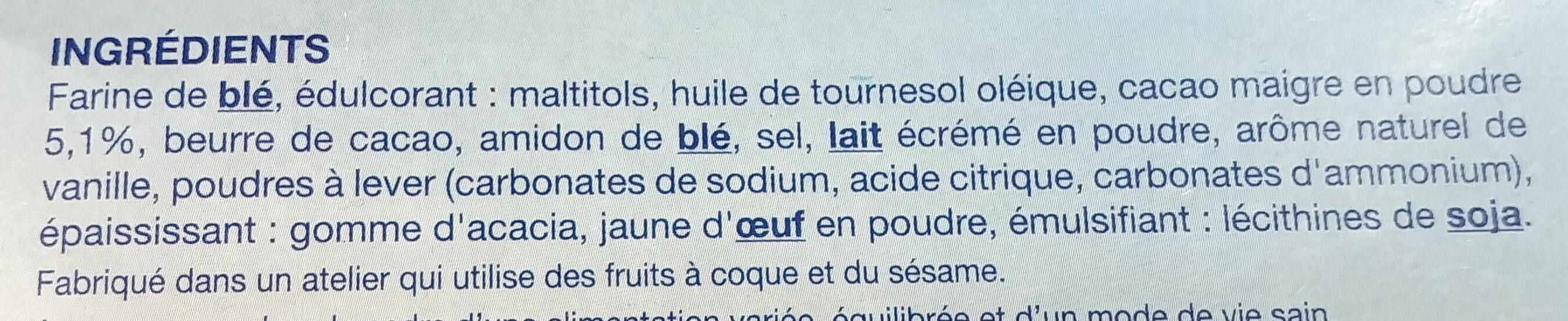 Fourré Cacao sans sucres - Ingrediënten - fr