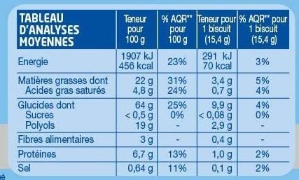 Fourré Cacao - Voedingswaarden - fr
