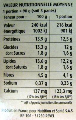 Crousti Panés Tomates, Olives Céréal Bio - Informations nutritionnelles - fr