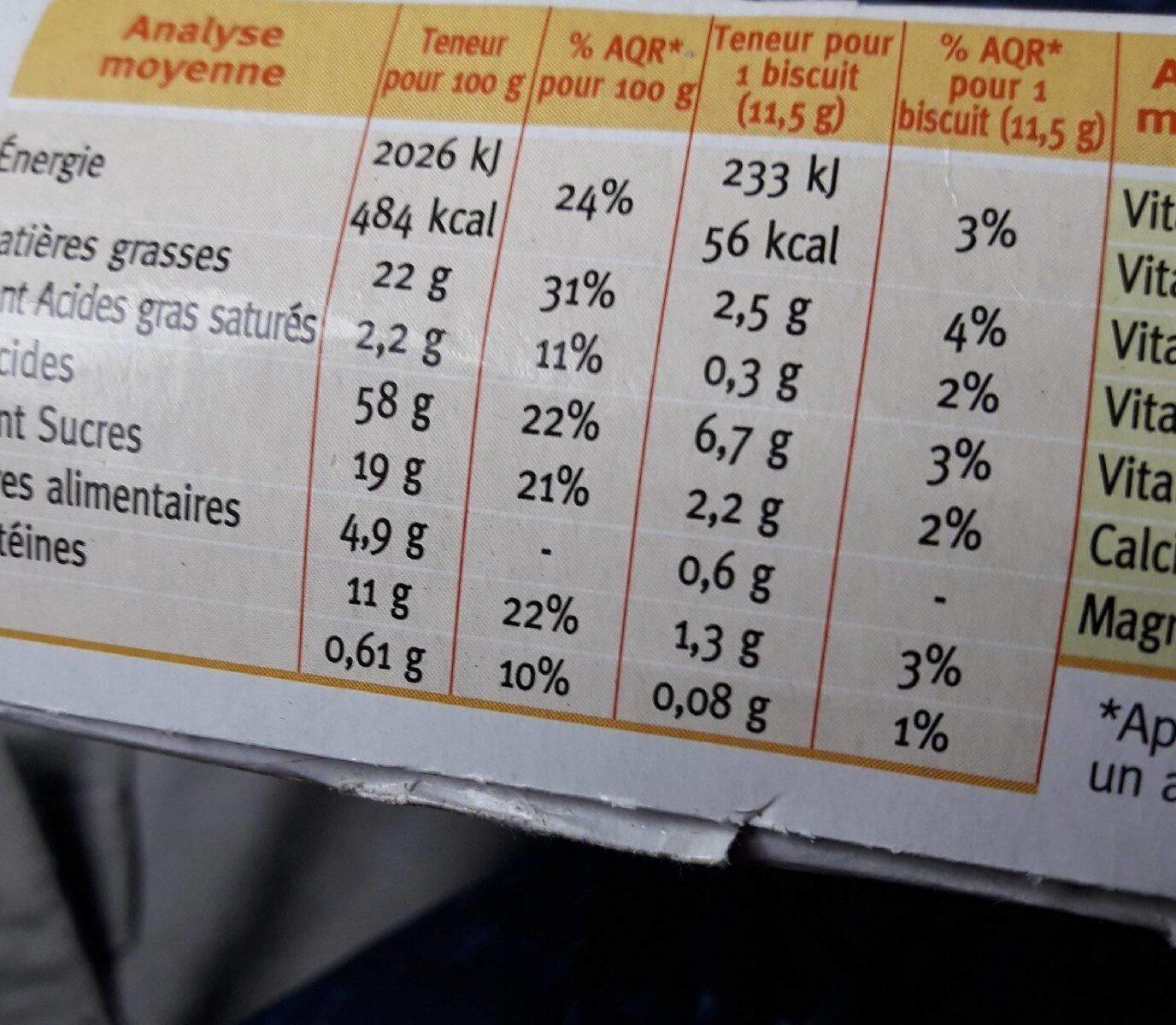Biscuit sésame Gerblé - Informations nutritionnelles - fr