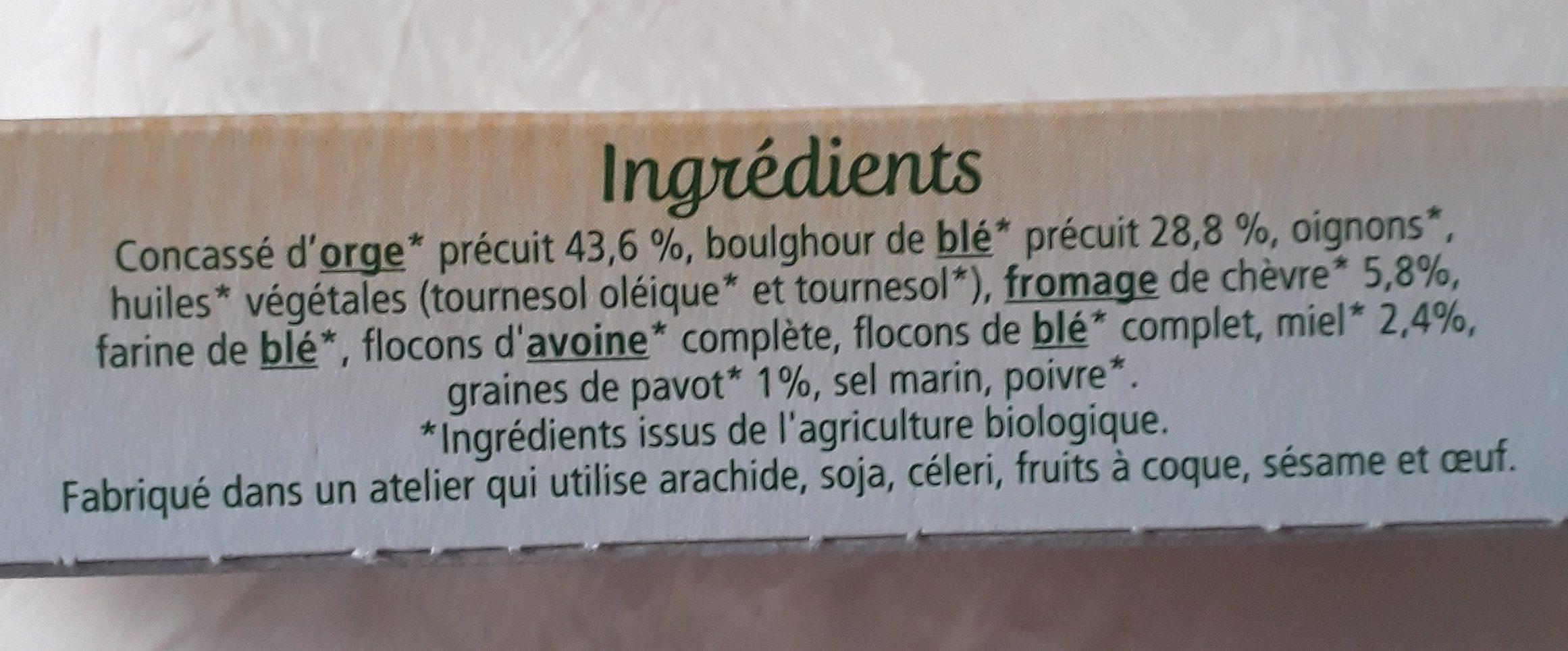 Galettes Orge & Boulghour au chèvre et miel - Ingredients