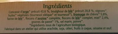 Galettes orge et boulgour au chèvre et miel - Ingrediënten - fr