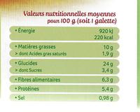Galettes Orge & Boulghour au chèvre et miel - Nutrition facts