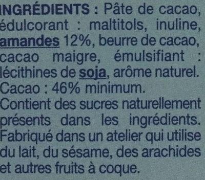Chocolat Extra Noir Amande Sans Sucres Ajoutés - Ingrédients