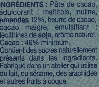 Chocolat extra noir amande - Ingrédients - fr
