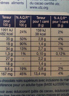 Chocolat extra noir amande - Voedingswaarden - fr