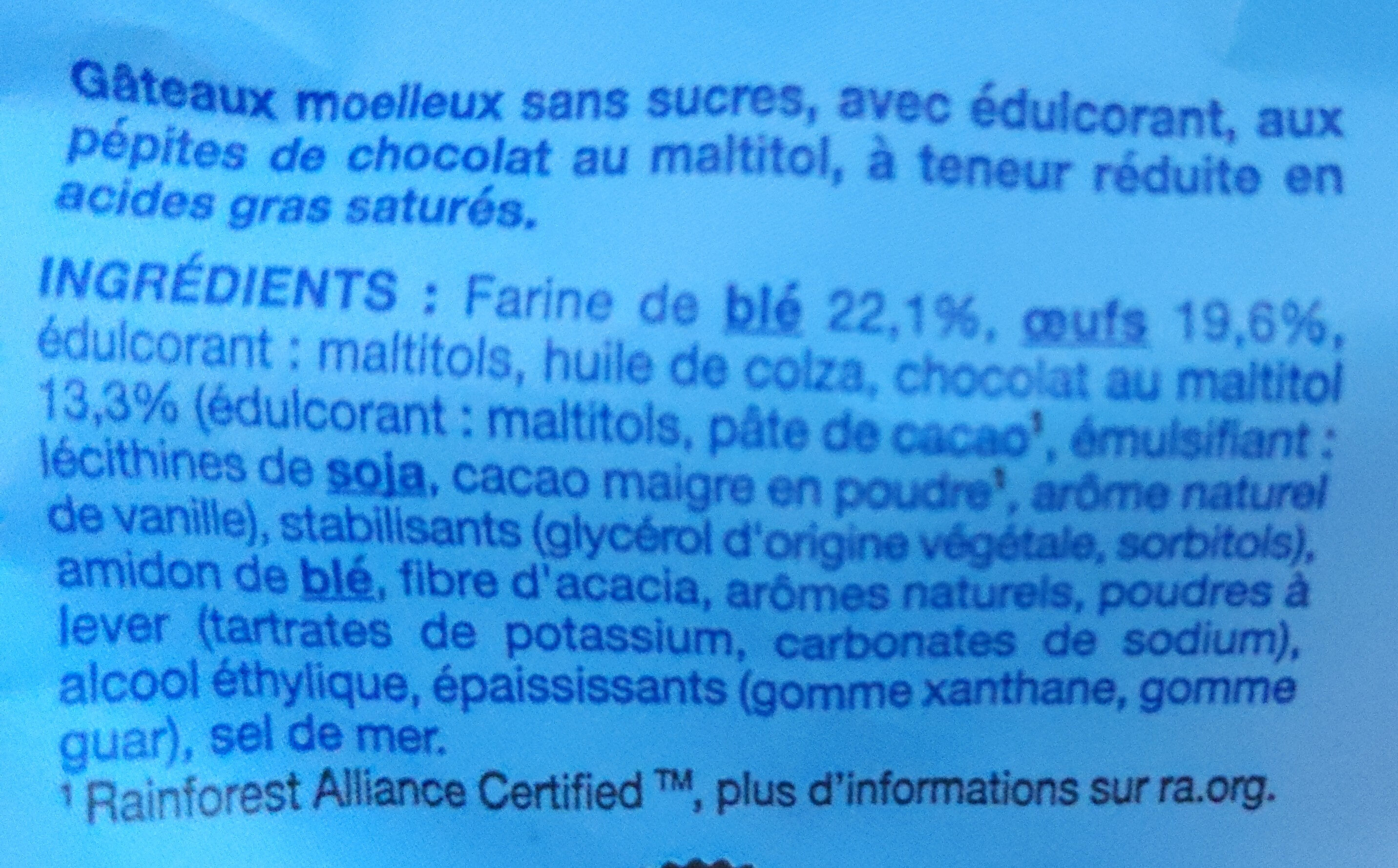 Moelleux aux pépites de chocolat - Ingredienti - fr