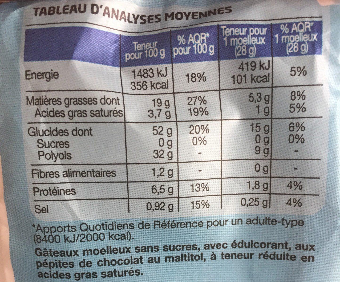 Moelleux aux pépites de chocolat - Valori nutrizionali - fr