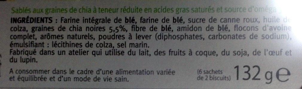 Sablé Nature Graines de Chia - Ingrediënten - fr