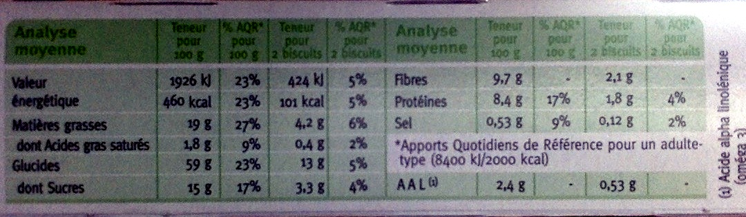 Sablé Nature Graines de Chia - Voedingswaarden - fr