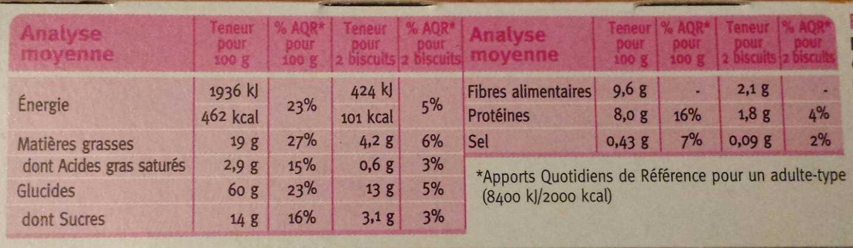 Crousti'fibres chocolat pécan - Nutrition facts - fr