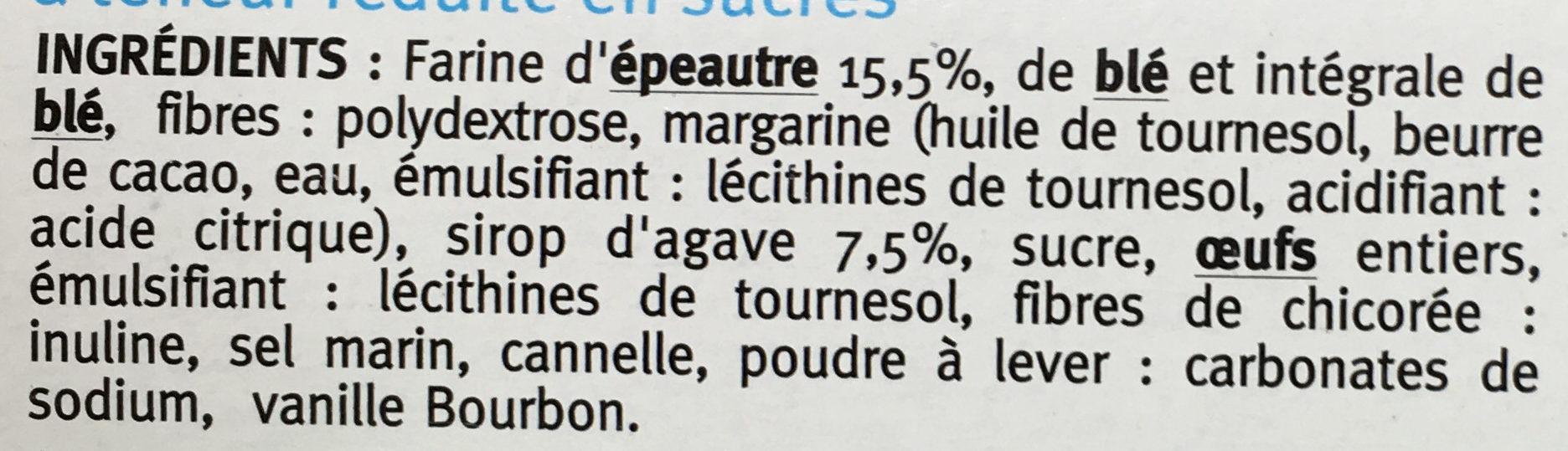 Gaufre Sirop d'Agave à la farine d'épeautre - Ingrédients