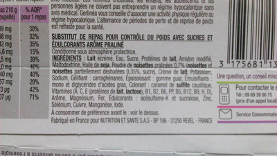 Mon repas Gerlinéa, crèmes saveur pralinée - Inhaltsstoffe - fr