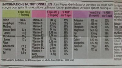 Mon repas Gerlinéa, crèmes saveur pralinée - Nährwertangaben - fr