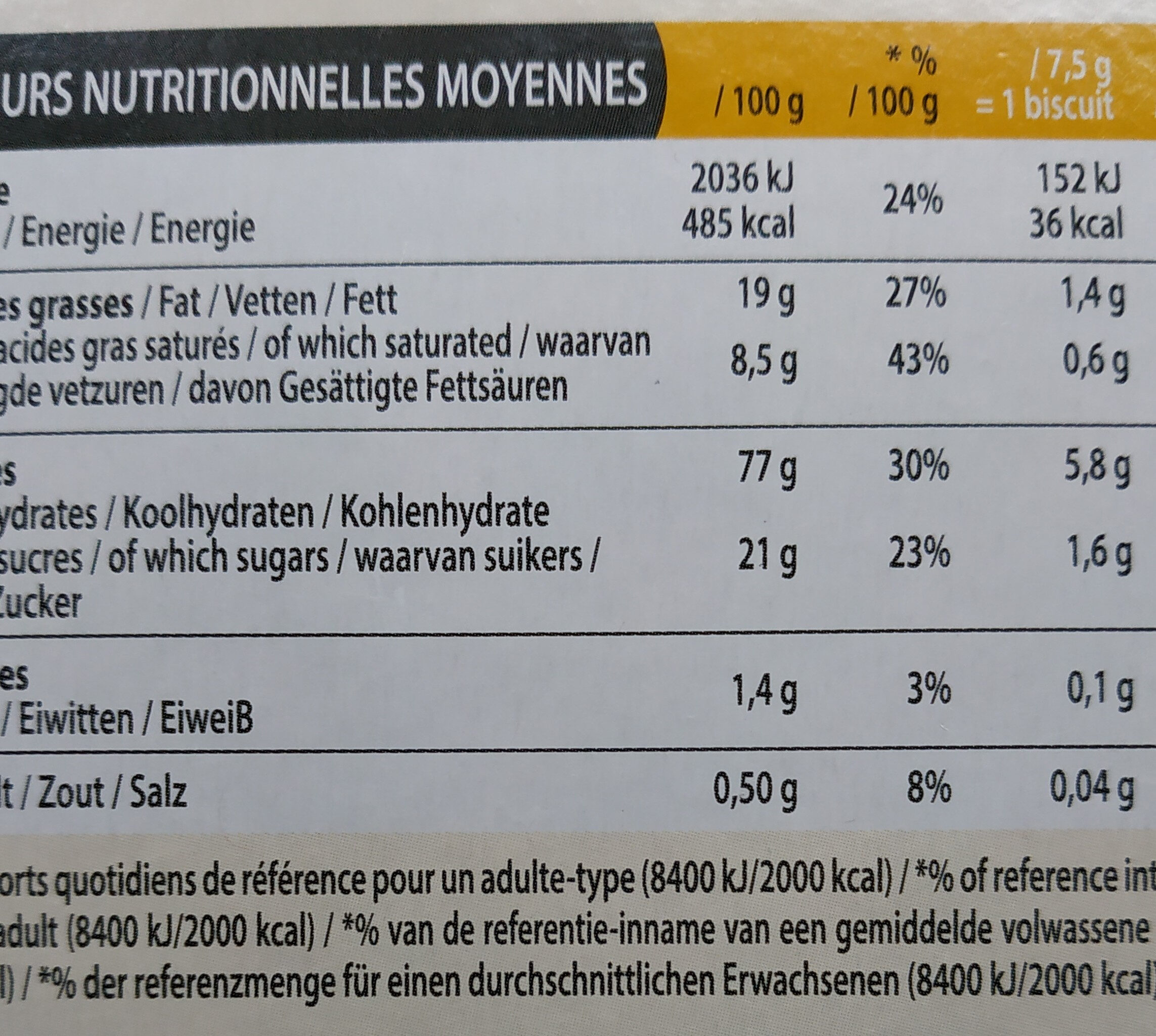 Biscuits Éclats de Caramel - Nutrition facts