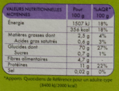 Fusilli au Sarrasin (Sans Gluten) - Valori nutrizionali - fr