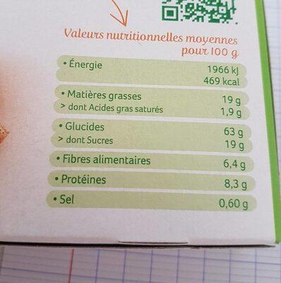 Palets de céréales a l'avoine - Informations nutritionnelles - fr
